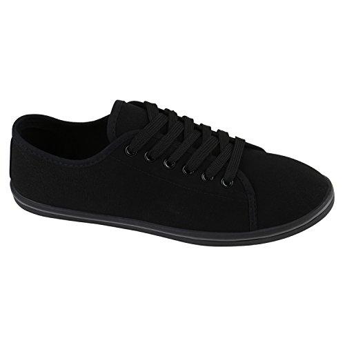 Damen Sneakers Blumen Basic Sneaker Low Freizeit Schnürer Stoff Schnür Flats Schuhe 139101 Schwarz Grau 38 Flandell