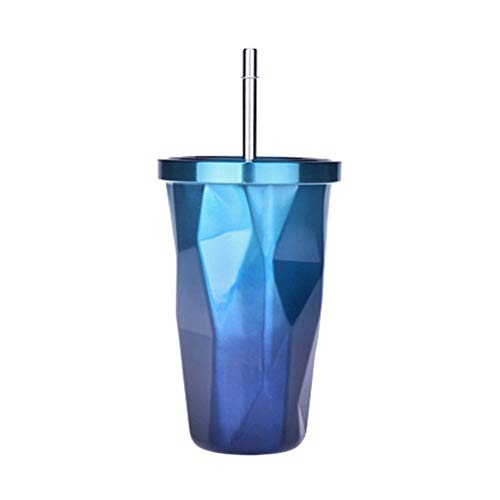 XINYANG Vide Tasse À Eau De Voiture avec Une Tasse À Café Double Couche en Acier Inoxydable Paille,Blue