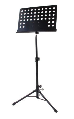 Classic Cantabile Metall Orchesterpult Schwarz (Lochpult Notenständer, Höhe 58 bis 100 cm einstellbar, Maße der Ablage: 50,0 x 34,8 x 4,5 cm) - Modell-holz-bodenbelag