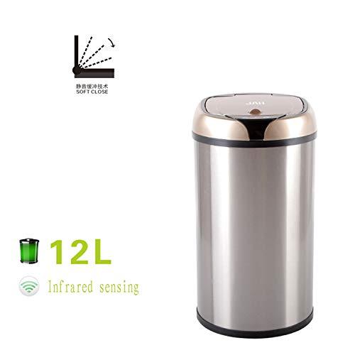 WENYC Mülleimer, automatisches intelligentes Edelstahl-Abfallaufbewahrungsgerät, Leben-kreativer Induktions-gesundheitlicher Eimer, passend für Schlafzimmer, Wohnzimmer, Badezimmer, Hotel, Büro 12L -
