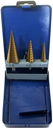3-tlg Stufenbohrer Satz 4-32mm HSS-TIN Schälbohrer Bohrer Set Kegelbohrer Senker