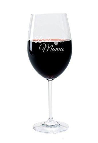 Leonardo Weinglas 400 ml, Mama, Stimmungsglas mit lustiger Gravur, Moodglas, 22 cm