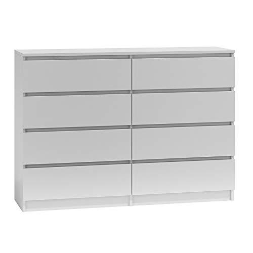 BIM Furniture Kommode mit 8 Schubladen Marbella 8 120 cm Sideboard Highboard Mehrzweckschrank Schlafzimmer Wihnzimmer (Weiß, 140 cm)