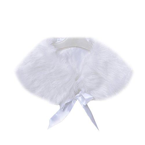 Icegrey Mädchen Elegante Kommunionjacke, Webpelzjacke, Bolero zum Kommunionkleid Weiß (Mädchen Capelet)