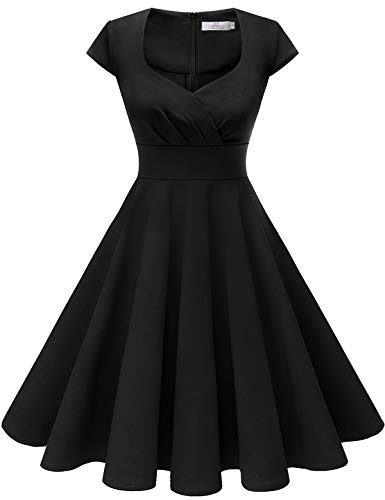 HomRain Damen 50er Retro Vintage Rockabilly Cocktail Party V-Ausschnitt Abendkleid Black XL (Damen Kleider Party Schwarz)