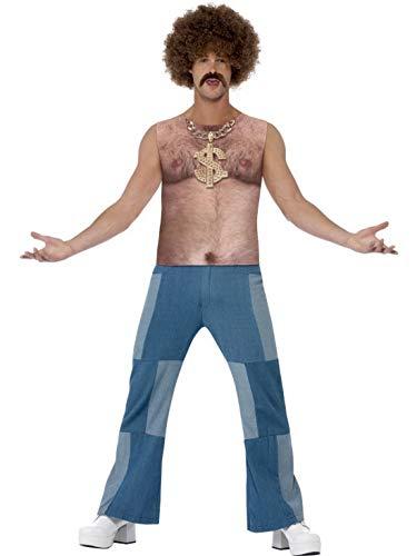Männer Kostüm Abba - Halloweenia - Herren Männer 70er Jahre Brustbehaarung Kostüm, Shirt mit Sublmationsdruck, perfekt für Karneval, Fasching und Fastnacht, L, Natur