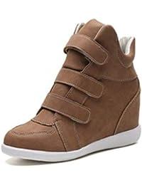 3f3208580 Zapatos Planos para Mujer Tacones Altos CuñAs Zapatos Hebilla De Cuero  Gamuza A Rayas Zapatillas De