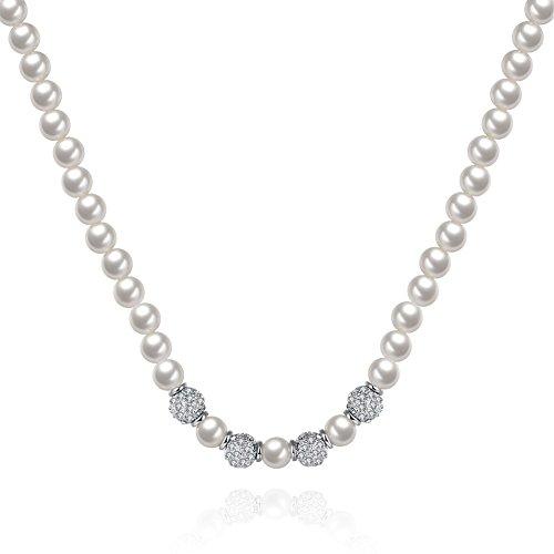 yeahjoy Charm Damen Fashion Faux Perlen Perlen Cluster lang Pearl Halskette Männer 14k White Gold Halskette