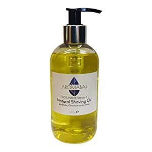 Natural Shaving Oil 250ml Lavender, Geranium & Lemon Pre Shave Oil 100% Pure with Pump Dispenser or Use as a Post Shave Moisturiser Unisex