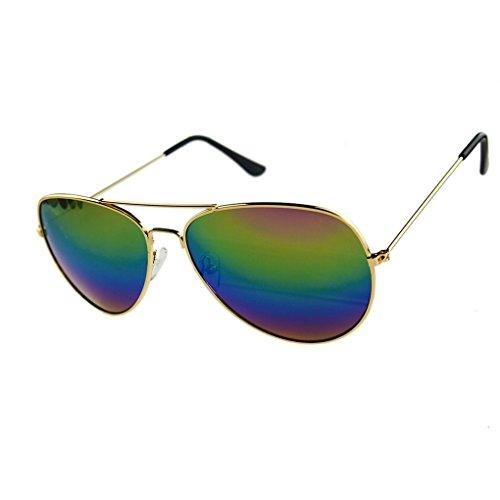 QHGstore Sonnenbrillen reflektierende Linse Metall + Resin Uv400Gold Freen & Multi Lens