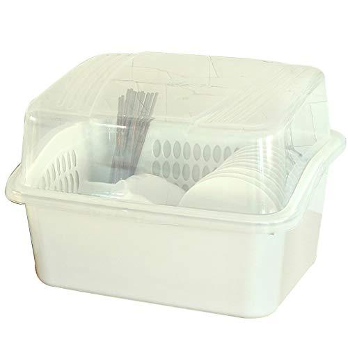 WYQ Couvert égouttoir Vaisselle Plastique avec Plateau (pour Ranger Bols, Assiettes, Tasse, Vaisselle) (Couleur : Blanc, Taille : 46cm × 38cm × 33.5cm)