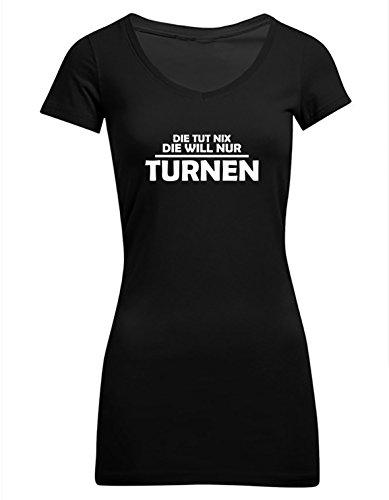 Die tut nix, die will nur turnen, Frauen T-Shirt Extra Lang - ID104237 Schwarz