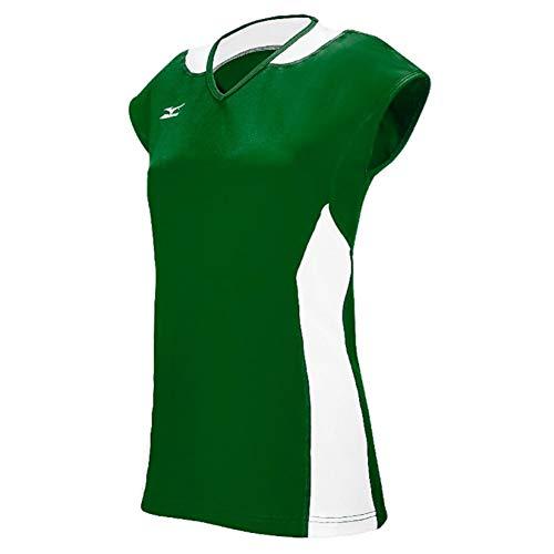 Mizuno Damen Klassische Mystic Cap Sleeve Jersey, Größe XXL, Wald/weiß (Mizuno Trikot Volleyball)
