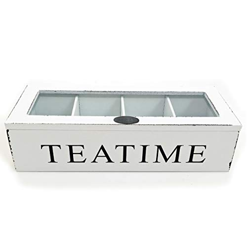 Boltze Compartment Tea Box Teatime Organiser Storage Chest Wood Rustic White Shabby Chic 27 x 11 x 7 Centimeter