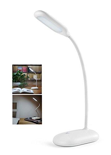 Eplze LED Œil Protection Bureau Lampe Gooseneck Dimmable pour Chambre BureauÉcole Un hotel (Blanc)