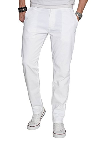 A. Salvarini Herren Designer Chino Stoff Hose Chinohose Regular Fit AS016 [AS016 - Weiss - W34 L34]