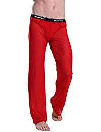 Hellomiko Pantalones Transparentes para Hombres - Servicio de Casa Casual de Malla Suave y Cómodo