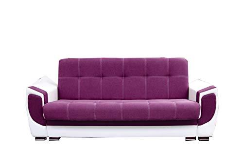mb-moebel Modernes Sofa Schlafsofa Kippsofa mit Schlaffunktion Klappsofa Bettfunktion mit Bettkasten Couchgarnitur Couch Sofagarnitur 3er Lilly (Violett)