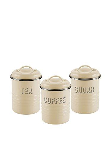 TYPHOON 39281 - JUEGO DE LATAS PARA TE  CAFE Y AZUCAR  10 X 10 5 CM  3 UNIDADES  COLOR BEIGE