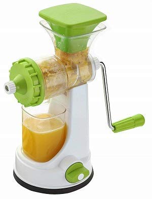2 Spoon Juicer for Fruit and Vegetables Steel Handle with Strong Vacuum Locking System, Poly Carbonate Manual juicer (Assorted Colour)