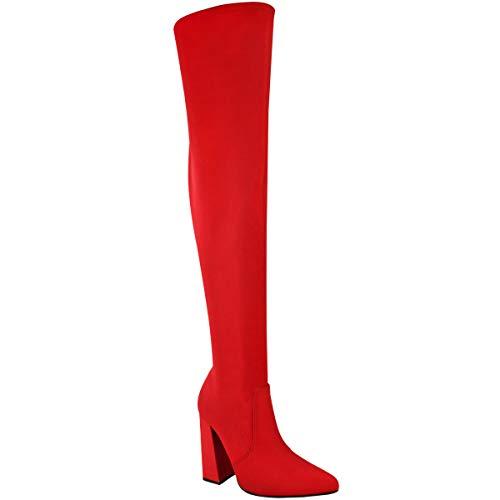 Damen hoch Schenkelhoch Stretch Lycra Stiefel Overknee Promi High Heels Größe - Rot Lycra/Spitz Zulaufend, 37