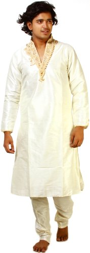 Exotic India Ivory Wedding Kurta Pyjama with Crystal and Faux Pearl EmbroideryGarment Size 36