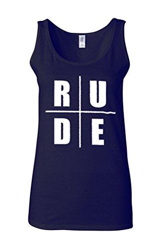 Rude Funny Novelty Novelty White Femme Women Tricot de Corps Tank Top Vest Bleu Foncé