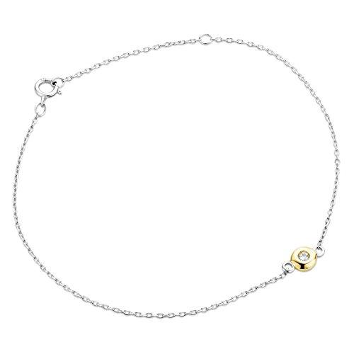 Orovi Bracciale Donna Solitario con Catena in Oro Bianco e Oro Giallo con Diamante Taglio Brillante Oro 9 Kt / 375 Cm 18.5