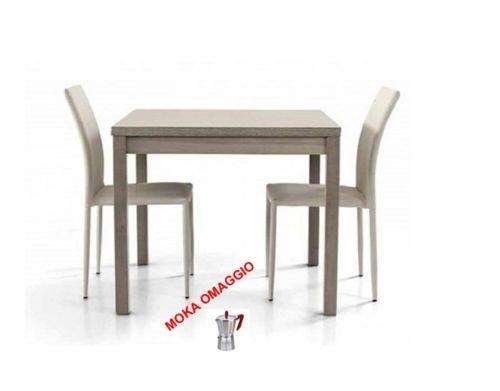 L'Aquila Design Arredamenti TABLES&CHAIRS tavolo da pranzo grigio legno rovere quadrato allungabile 566 90x90x76