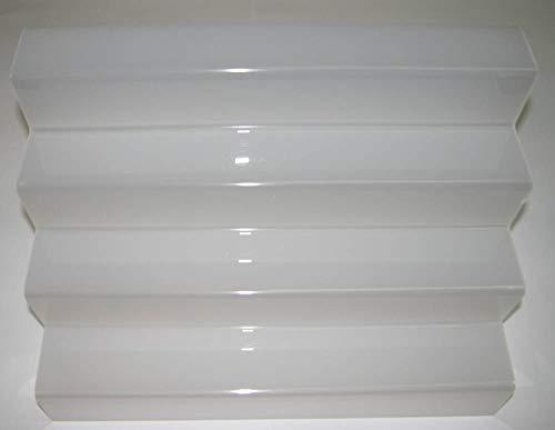 Dmd espositore a scaletta in plexiglass bianco n. 4 ripiani largh. cm. 8 ca. dimensioni totali cm. 50 lungh.x cm. 32 h x cm. 32 largh.