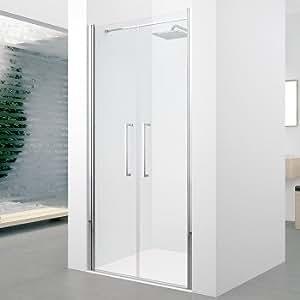 Porte à 2 panneaux battants Young 2.0 2B 90cm Transparent Chromé