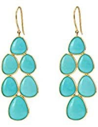 [Sponsored Products]Gehna 18k (750) Yellow Gold And Turquoise Drop Earrings