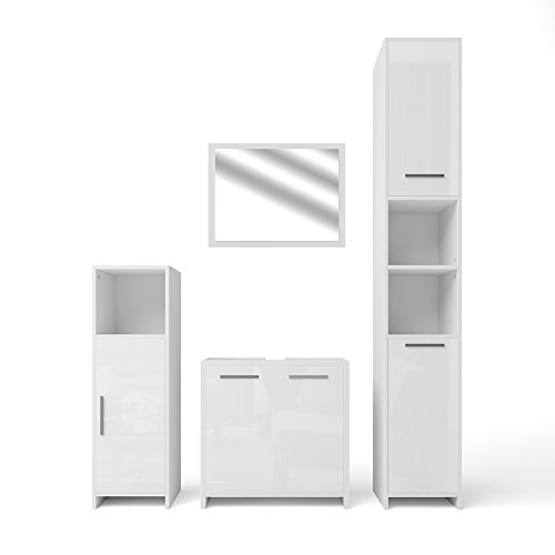 Preisvergleich Produktbild VICCO Badmöbel Set KIKO Weiß Hochglanz / Grau Beton - Badspiegel + Unterschrank + Bad Hochschrank + Bad Midischrank (Weiß Hochglanz,  Set 4)