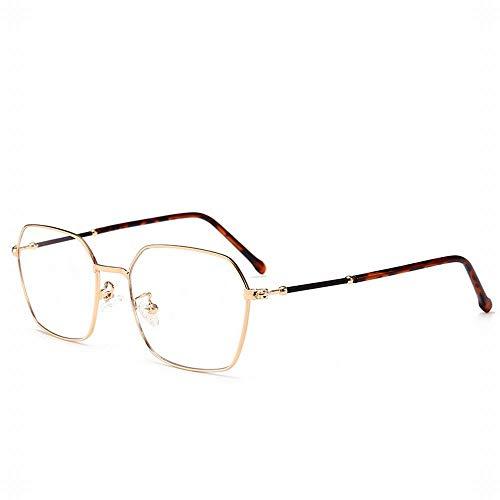 WULE-RYP Polarisierte Sonnenbrille mit UV-Schutz Unregelmäßiger Rahmen für Retro-Brillen, Anti-Blaulicht, klare Gläser. Superleichtes Rahmen-Fischen, das Golf fährt (Farbe : Golden)