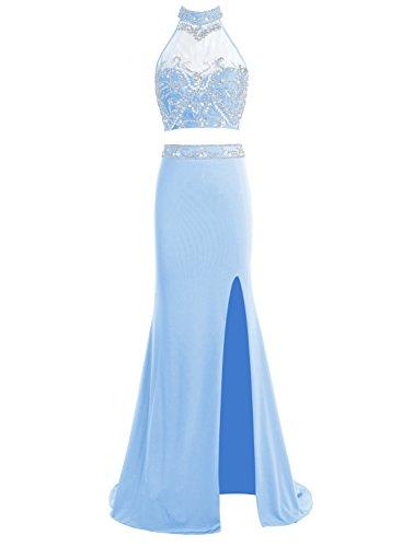 Bbonlinedress Robe de soirée et de bal emperlée florale col roulé deux pièce avec fente longueur ras du sol en mousseline Bleu
