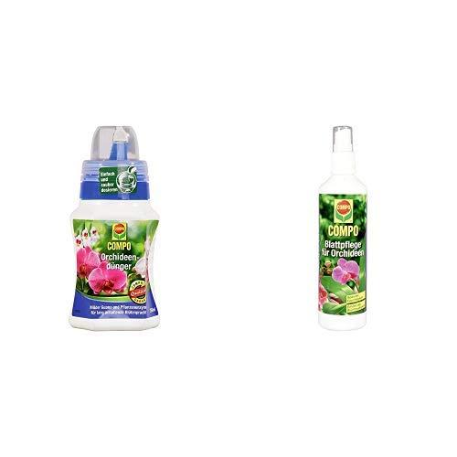 COMPO Orchideendünger für Orchideen in Topf und Beet, Spezial-Flüssigdünger mit Guano und Pflanzenenzymen, 250 ml & Blattpflege für alle Orchideenarten, Sprühflasche, 250 ml