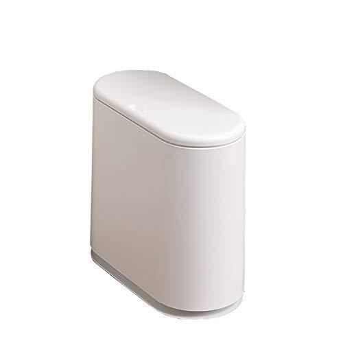 SSKO cans Presse-typ Mülleimer Müll-Container Mülltonne Mit Deckel, Portable Abfalleimer Dual-Fach Papierkorb Rechteckige-Weiß 9L(2.4Gallon) - Dual Mülltonne