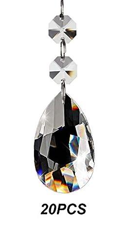Fushing 20pcs goutte d'eau Cristal Lustre prismes pièces Pendentifs Perles
