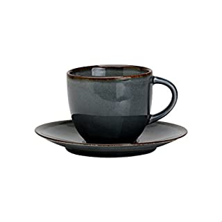 Avet Spain Cups Set with Saucer, Stoneware 6.8x6.8x6 cm grey