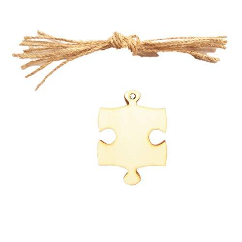 20 Stück Deko Puzzle Geschenkanhänger Deko Hänger Mini Hölz Hängeetiketten (Puzzle-stück Kleidung)