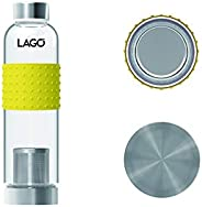 LAGO HI-GRADE BOROSILICATE GREEN TEA INFUSER BOTTLE 550ML SIZE 23CMx6.6CM WITH SILICON COVER, SS INFUSER AND S