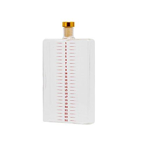 Hoot Weihnachts-Flachmann Advent Flask-400ml, Glas, Durchsichtig, 10 x 19,5 x 3 cm