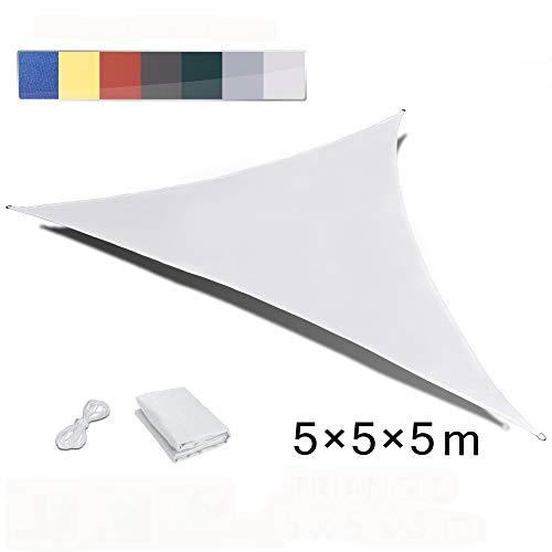 LOVE STORY Triangolo 5 x 5 x 5m Creme Tenda da Sole Vele Parasole UV Impermeabile per Giardino Esterno