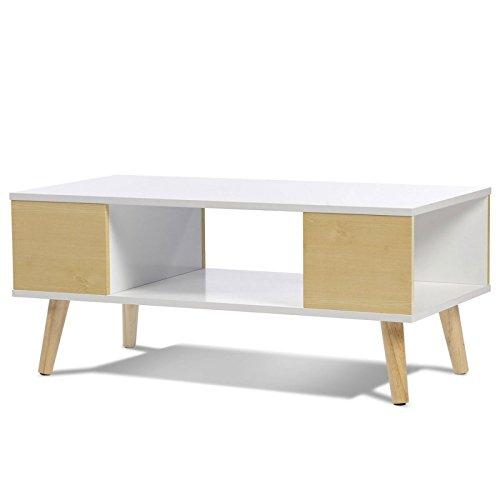 IDMarket - Table basse EFFIE scandinave bois blanc et imitation hêtre