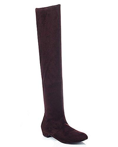 Minetom Donna Autunno Inverno Moda Stivali Sopra Il Ginocchio Heel Piatto Semplice Boots Lunghi Stivali Marrone