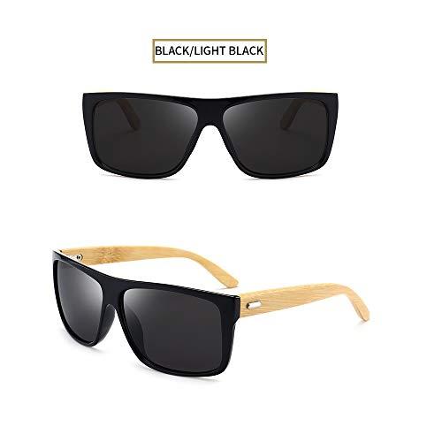 Wang-RX Bambus Sonnenbrille Männer Holz Sonnenbrille Frauen Holz Quadrat Gläser Uv400