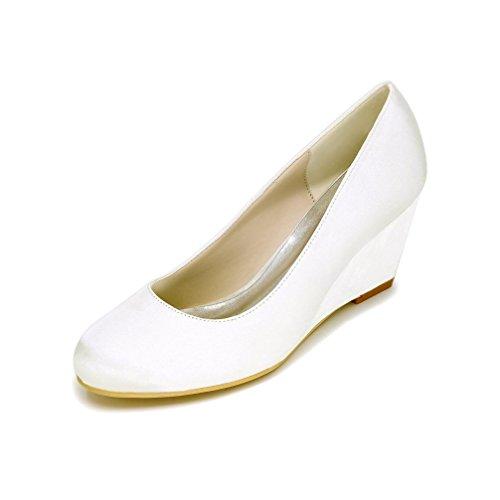 LEI&LI Chiuso Toe zeppa alta tacco raso matrimonio nuziale scarpe partito & sera scarpe più colori donne disponibili White
