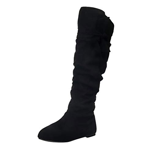FeiBeauty - Women Knee-High Boots with Flat Heel and Suede Material Women Slouch Boots with Large Size and 4-Colors Available