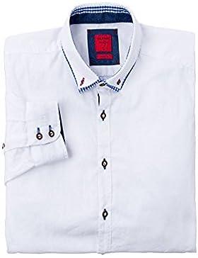 Olymp Herren Trachtenhemd Langarm Weiß Blau Oliver 002988