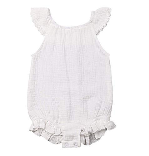 WANGSAURA Baby Mädchen Junge Ärmellos Gekräuselte Leinen Einteiliger Strampler Kleinkind Spielanzug 0-24 Monate Neugeborenes Kleidung